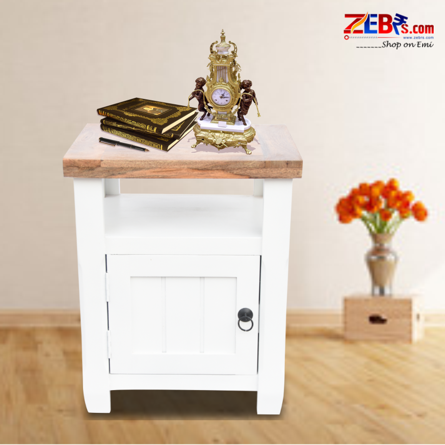 Furniture Mango Wood Bedside Table for Bedroom | Wooden Side End Table | with Shelves & Cabinet Storage | White