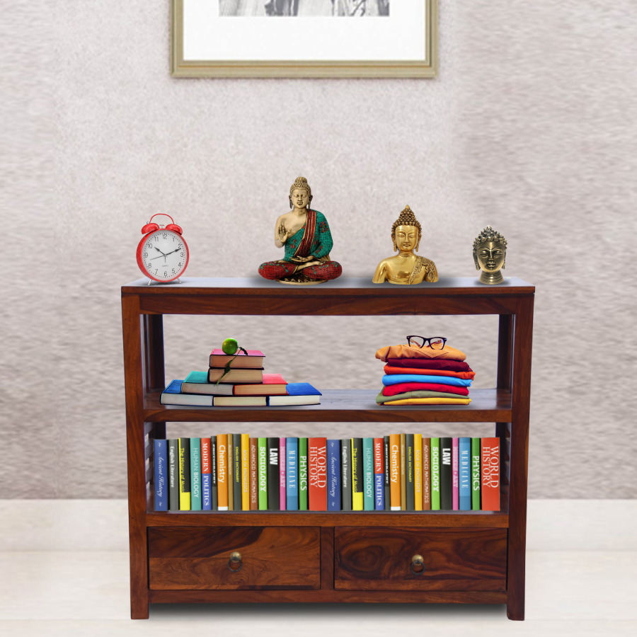 Console Table for Living Room | 3 Shelves & 2 Drawer Storage | Honey Brown Finish | Sheesham Wood