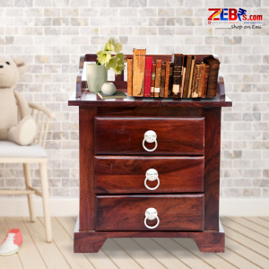 Furniture Sheesham Wood Bedside Table for Bedroom | Living Room | Wooden End Table | 3 Drawer Storage | Dark Brown