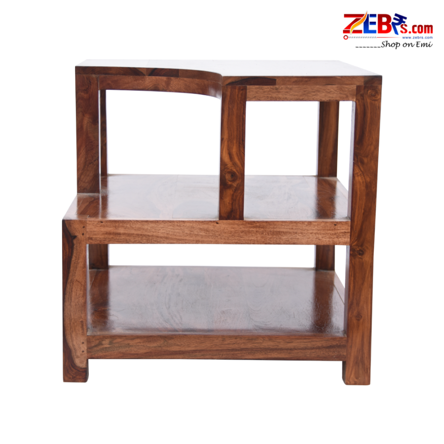 Furniture Sheesham Wood Bedside Table for Bedroom | Wooden Side End Table | with Shelf Storage | Teak Brown Finish