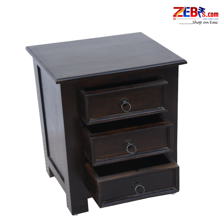 Furniture Sheesham Wood Bedside Table for Bedroom | Wooden Side End Table | 3 Drawer Storage | Mahogany Finish