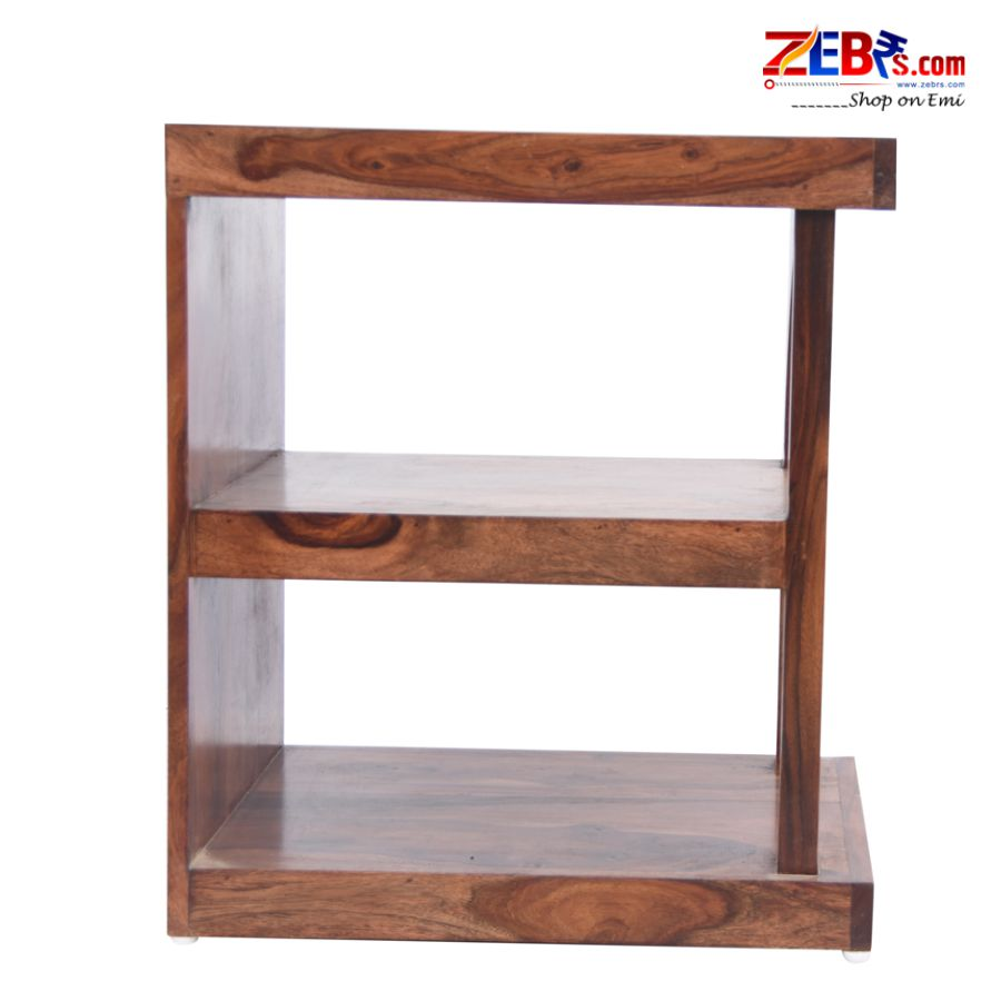 Furniture Sheesham Wood Bedside Table for Bedroom | Wooden Side End Table | with Shelf Storage | Natural Teak Finish