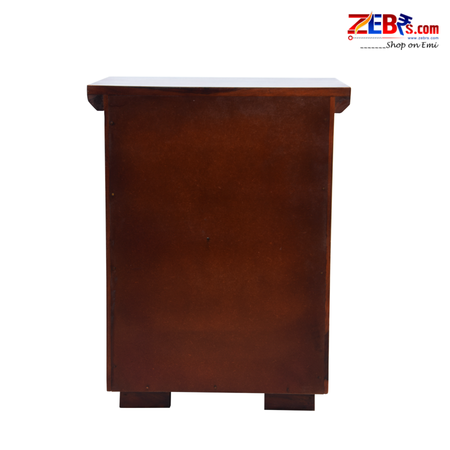 Furniture Sheesham Wood Bedside Table for Bedroom | Wooden Side End Table | 2 Drawers with Shelf Storage | Honey Brown Finish
