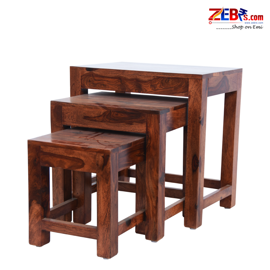 Furniture Sheesham Wood Nesting Tables for Living Room | Wooden Stool | Bedside End Table | Set of 3 | Honey Brown Finish