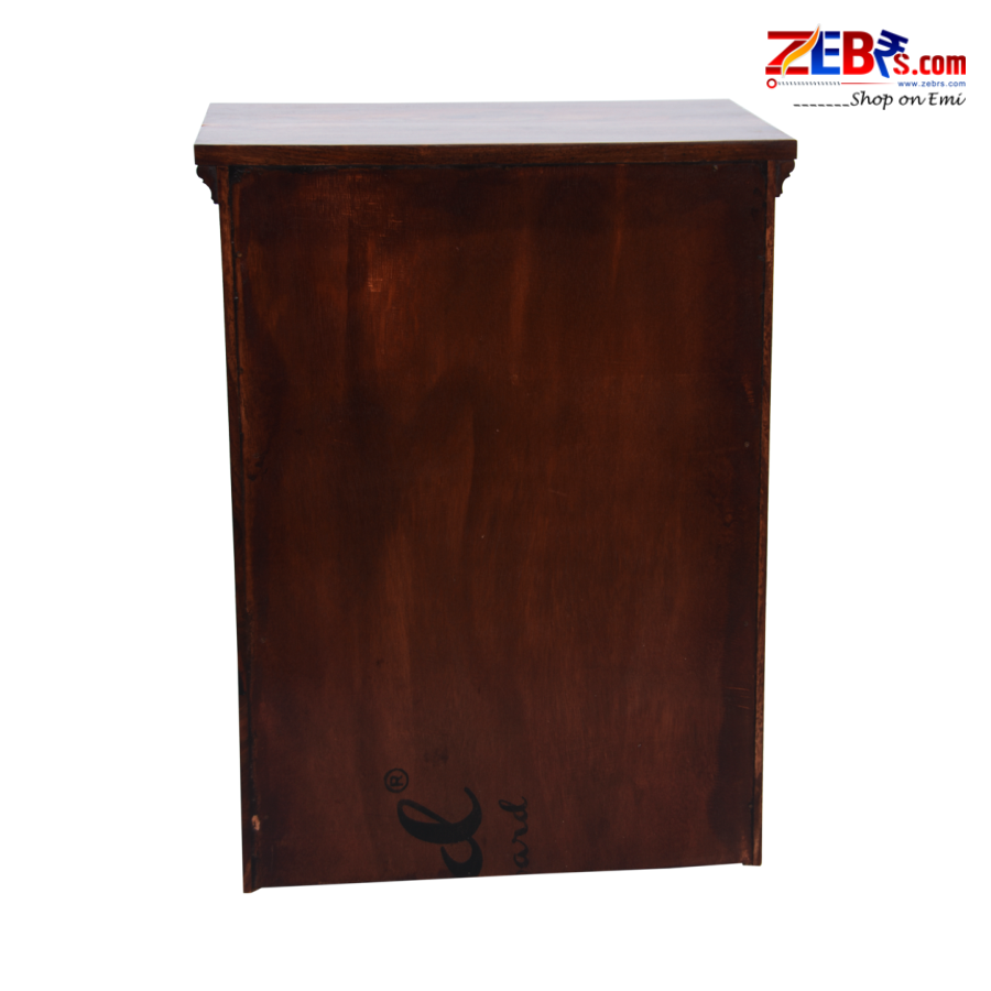 Furniture Sheesham Wood Bedside Table for Bedroom | Wooden Side End Table | 3 Drawer Storage | Honey Finish