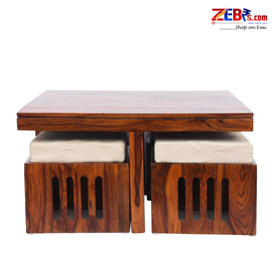 Furniture Sheesham Wood Square Coffee Table for Living Room | Wooden Center Table | with 4 Stools | Cream Cushion |