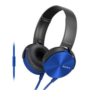 Sony MDR-XB450AP Wired Extra Bass On-Ear Headphones with Tangle Free Cable, 3.5mm Jack, Headset with Mic for Phone Calls and 1 Year Warranty - (Blue)
