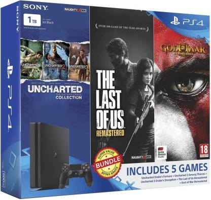 Sony PlayStation 4 (PS4) Slim 1 TB with Uncharted Collection, The Last of Us Remastered and God of War Remastered  (Jet Black)