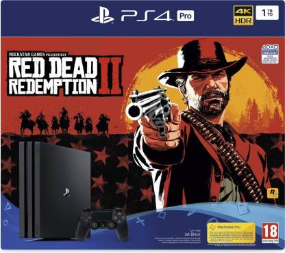 Sony PlayStation 4 Pro 1TB Console - Red Dead Redemption 2 Bundle 1000 GB withRed Dead Redemption  (Black)