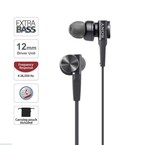 Sony MDR-XB75AP Premium in-Ear Extra Bass Headphones with Mic (Black)