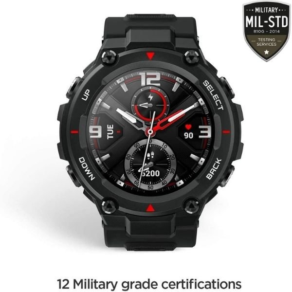 Amazfit T-Rex Smart Watch with 20 Days Battery Life, AMOLED Display, Built-in GPS, 12 Military Certifications, Water Resistance, 14 Sports Modes (Rock Black)