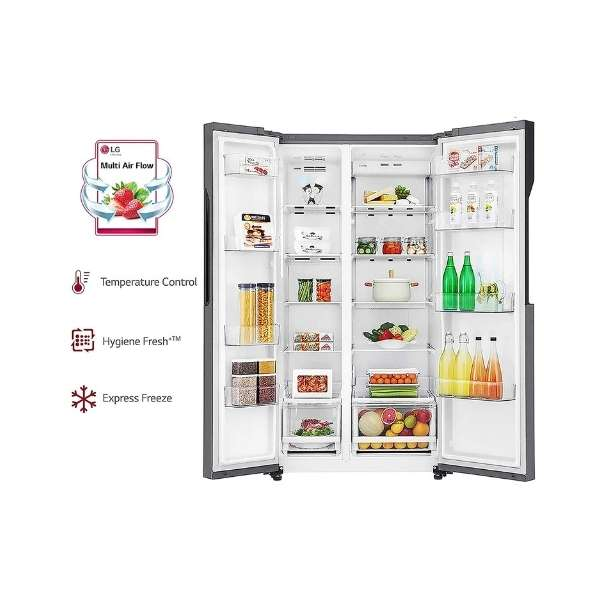 Lg 679 L Frost Free Side By Side Refrigerator Gc B247kqdv Adsqebn Graphite Steel Inverter Compressor