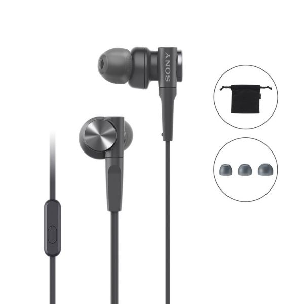 Sony MDR-XB55AP Wired Extra Bass in-Ear Headphones with Tangle Free Cable, 3.5mm Jack, Headset with Mic for Phone Calls and 1 Year Warranty - (Black)