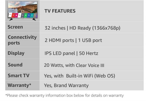 LG 80 cm (32 inches) HD Ready IPS Smart LED TV 32LH576D