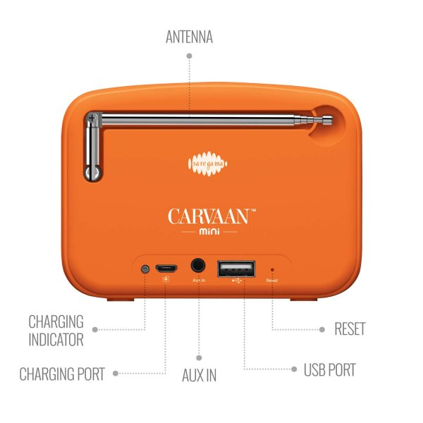 Saregama Carvaan Mini 2.0 Shrimad Bhagavad Gita- Music Player with Bluetooth/FM/AM/AUX (Saffron Orange) by Saregama