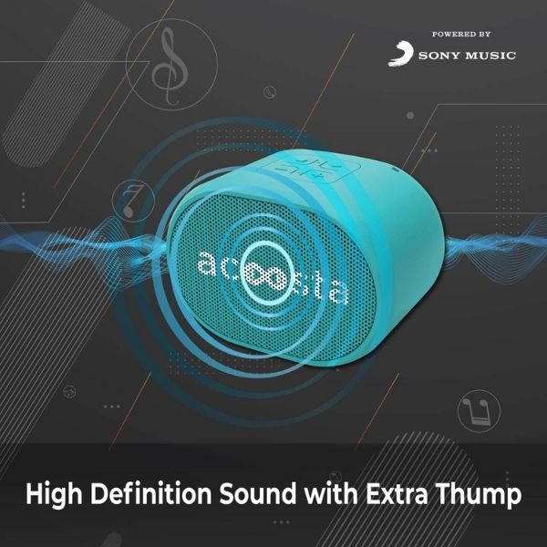 Acoosta Suno Mini – Powered by Sony Music, 500 Preloaded Songs Across 3 Stations and 150 Artists, Portable Wireless Bluetooth Speaker with Mic, FM Radio, Aux Out, True Wireless Stereo