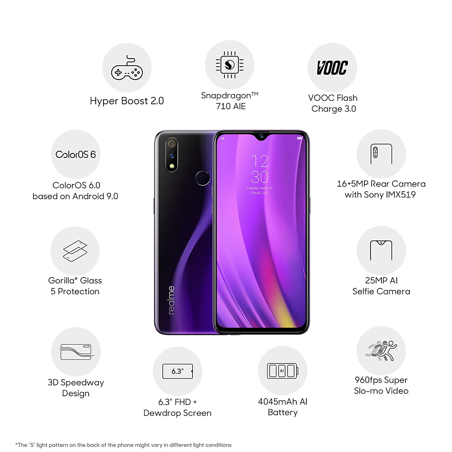 Realme 3 Pro (Lightning Purple, 6GB RAM, 64GB Storage)