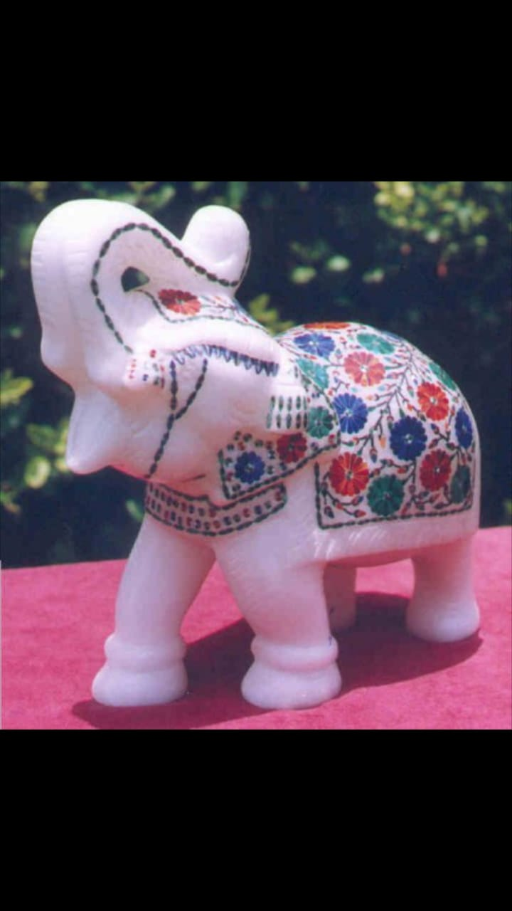 Decorative MAKRANA MARBLE hathi couple