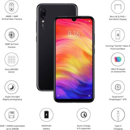 Redmi Note 7 Pro (Space Black, 128 GB)  (6 GB RAM)