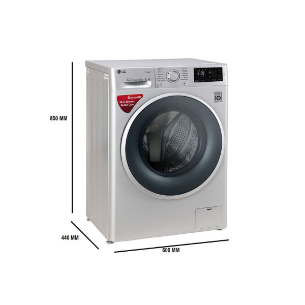 LG 6.5 kg Inverter Fully-Automatic Front Loading Washing Machine (FHT1065SNL, Luxury Silver, Inbuilt Heater)