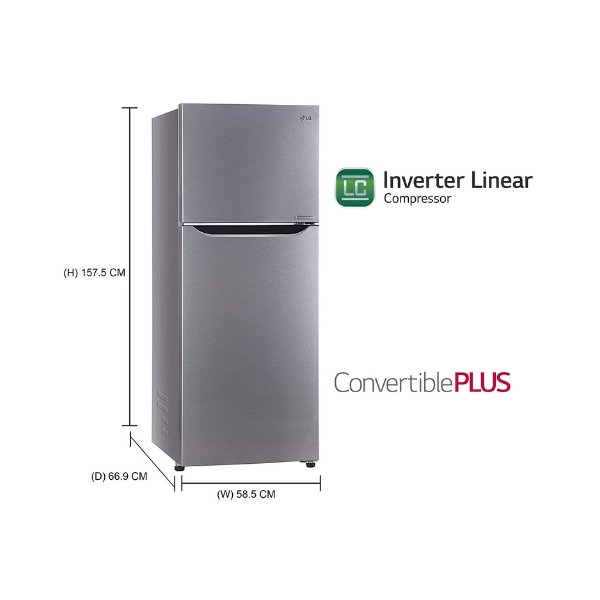 LG 284 L 3 Star Inverter Linear Frost-Free Double Door Refrigerator (GL-T302SDS3, Dazzle Steel, Convertible)