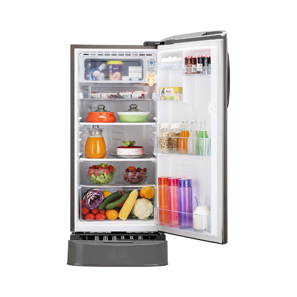 LG 190 L 4 Star Inverter Direct Cool Single Door Refrigerator (GL-D201APZY, Shiny Steel)