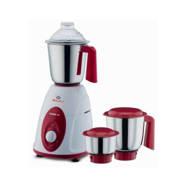 Bajaj new Classic 750 W Mixer Grinder  (Red,White, 3 Jars)