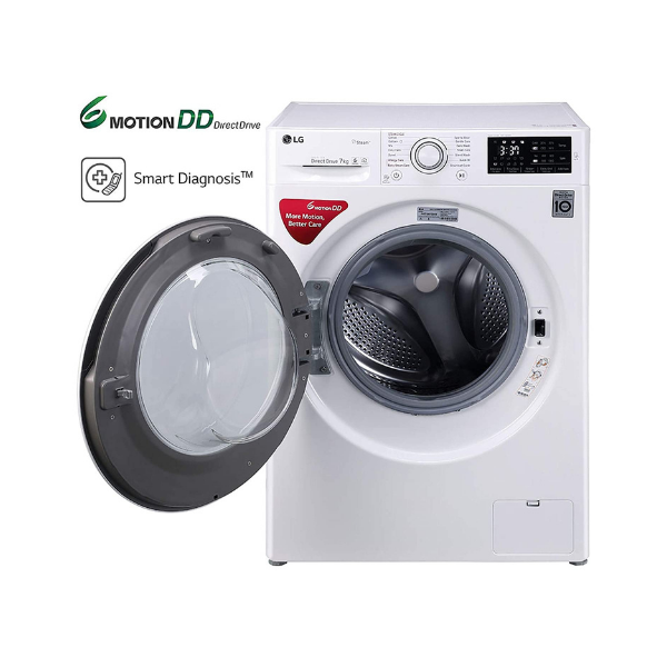 LG 7.0 kg 5 Star Inverter Fully-Automatic Front Loading Washing Machine (FHT1007ZNW, White, 6 Motion Direct Drive)