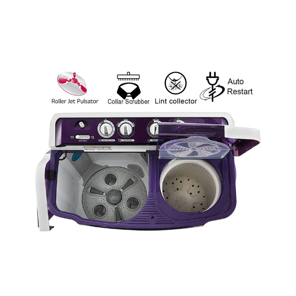 LG 8 Kg 5 Star Semi-Automatic Top Loading Washing Machine (P8035SPMZ, Purple, Collar Scrubber)