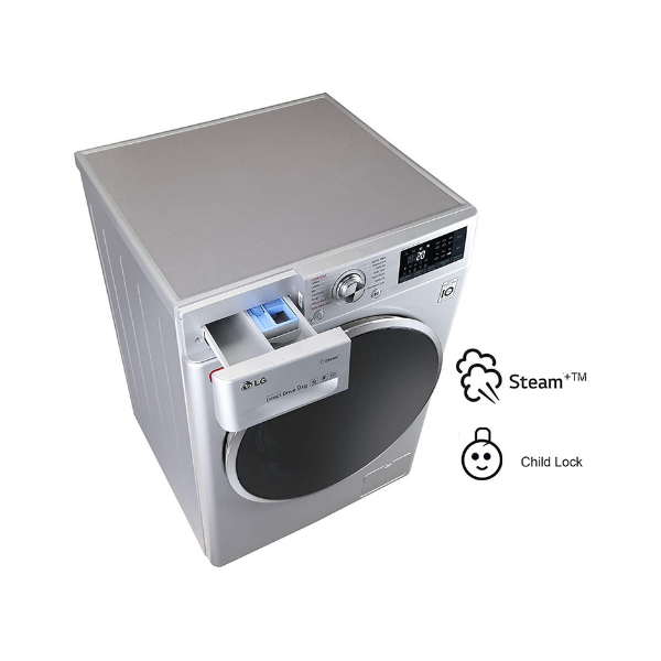 LG 8 kg Inverter Wi-Fi Fully-Automatic Front Loading Washing Machine (FHT1408SWL, Luxury Silver)