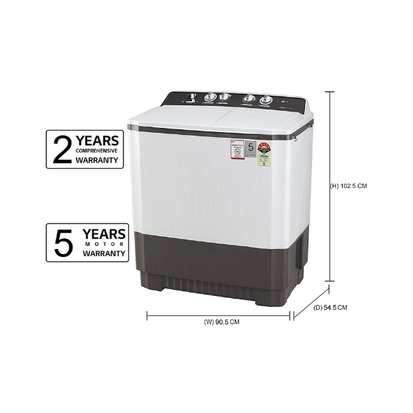 LG 9 kg 5 Star Semi-Automatic Top Loading Washing Machine (P9040RGAZ, Grey, Lint collector)