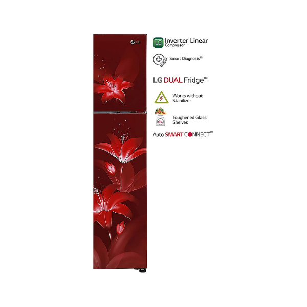 LG 284 L 2 Star Inverter Linear Frost-Free Double-Door Refrigerator (GL-T302RRGU, Ruby Glow, Convertible)