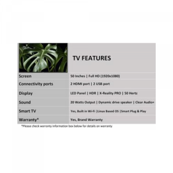 Sony Bravia 125.7 cm (50 inches) Full HD LED Smart TV 50W672G