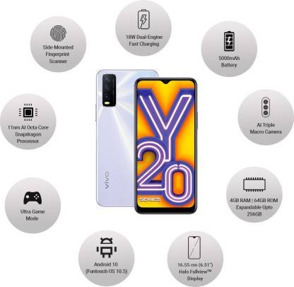 Vivo Y20 (Dawn White, 64 GB)  (4 GB RAM)
